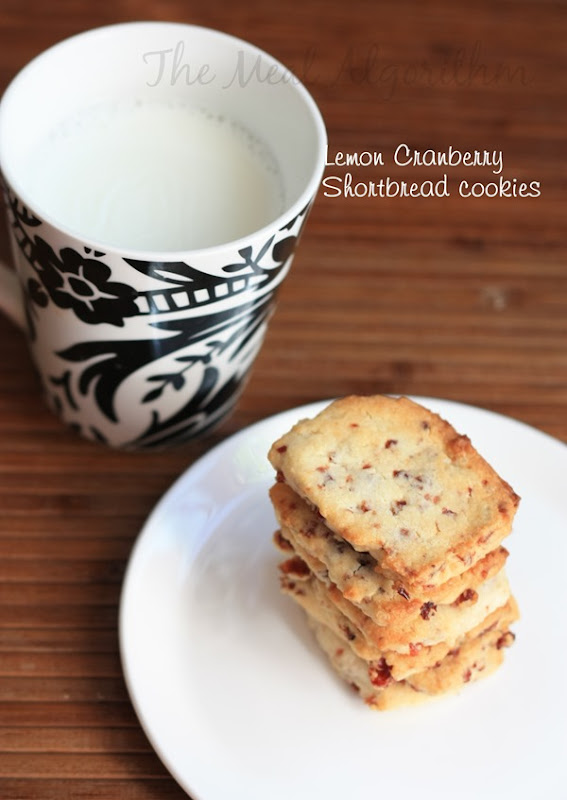 Lemon Cranberry Shortbread cookies -3