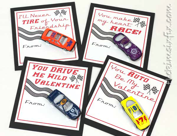 Matchbox car valentines