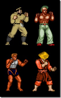 Esempio di quattro nemici comuni editati per Fighting Street