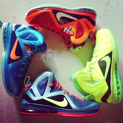 nike lebron 9 ps elite lebron pe group 1 01 King James Wears Nike LeBron 9 P.S. Elite Volt Dunkman PE