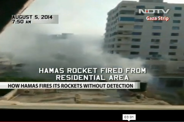 NDTV India rocket fired next to hotel