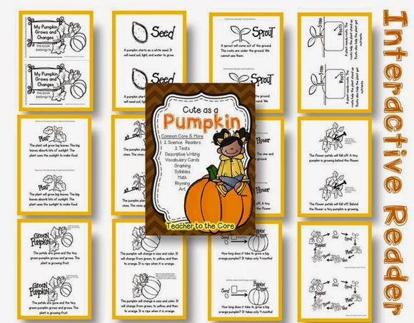 Teacher to the Core has a new Science unit on pumpkins- informational reading that is accessable to first graders- can I hear an amen