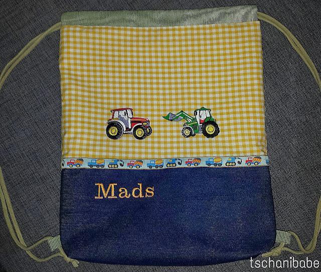 Turnbeutel selbstgenäht mit Traktor