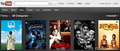 YouTube Movies (India)