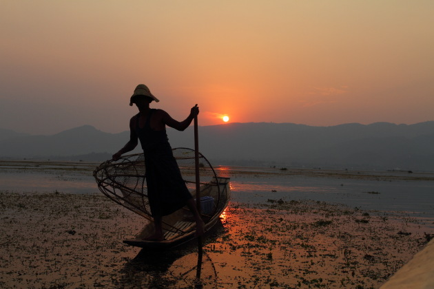 Inle Fisherman Silhouette at Sunset from Inle Lake, Burma