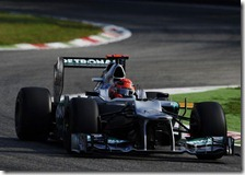 Schumacher nelle prove libere del gran premio d'Italia 2012