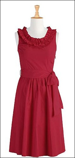Ruffle Neck Cotton Dress