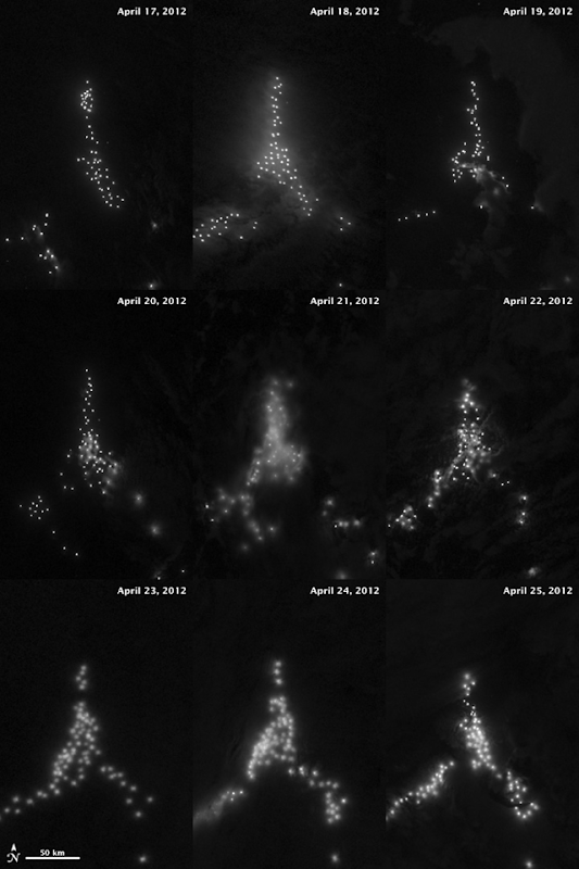 Over the course of nine nights in April 2012, illegal fishing boats shift positions while hugging the borders of the exclusive economic zones of Argentina and the Falkland Islands. Photo: NASA Earth Observatory, using VIIRS day-night band data from Suomi NPP