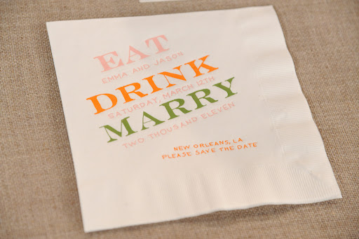 This cocktail napkin save-the-date is so creative.