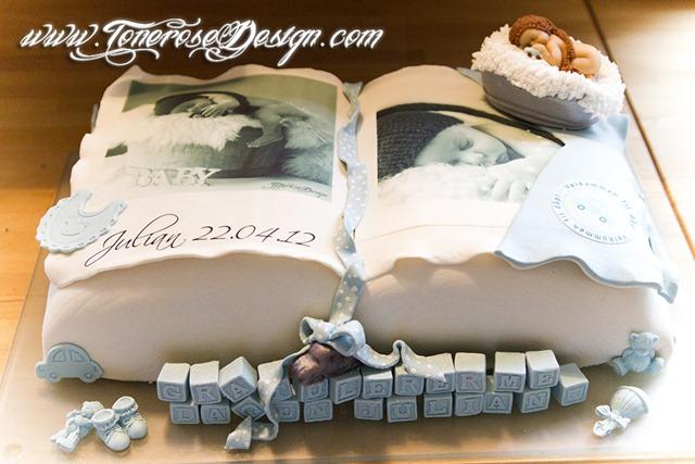 Bok-kake barnedåp - inspirert av invitasjonene
