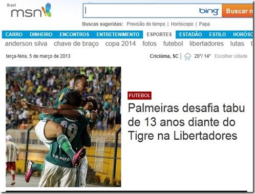 Palmeiras e Tigre é tabu