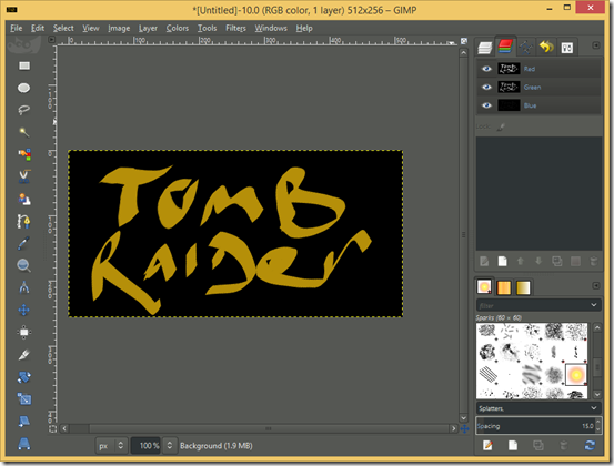 GIMP screenshot with finished Logo