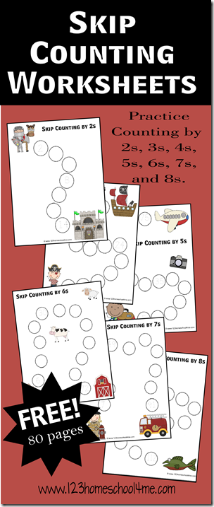 FREE Skip Counting Worksheets - Counting for kids to make practicing counting by 2s-8s FUN! THis math game is perfect for Kindergarten, first grade, second grade, third grade, and 4th grade students in math centesr, summer learning, homework, and homeschooling