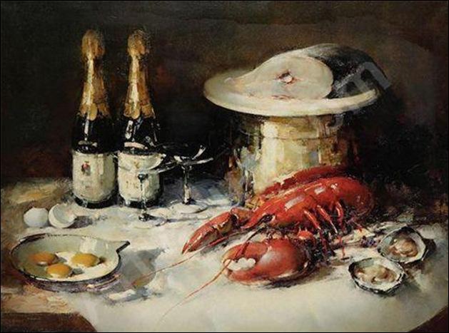 Simon Van Gelderen, Nature morte aux huitres, homard, poisson et champagne