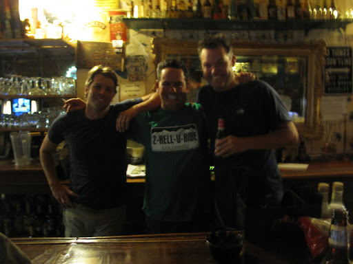 Dave Frank and Dave. Picture is purposely blurred because that's what things looked like to us after closing the bar in Eureka, NV with Frank, whose TAT ride report we'd been reading online.