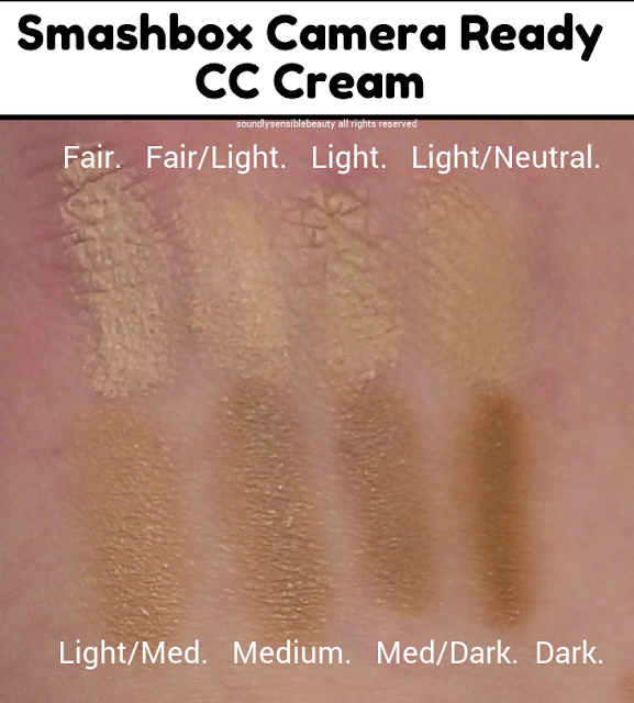 Smashbox Camera Ready CC Cream; SPF 30 (Dark Spot & Color Correcting); Review & Swatches of Shades Fair, Fair/Light, Light Neutral, Light, Light/Medium, Medium, Medium Dark, Dark,