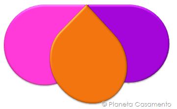 Paleta de Cores - Laranja Pink e Roxo - Planeta Casamento