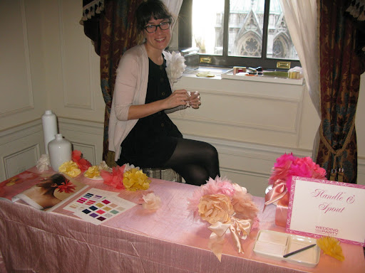 Corrine from Handle & Sprout was making her beautiful fabric flowers...a great gift for flower girls or your bridesmaids.
