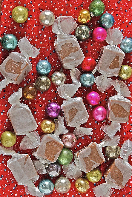Caramels & Tiny Vintage Christmas Ornaments