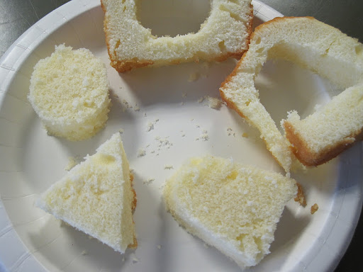 Cake cut into different shapes.