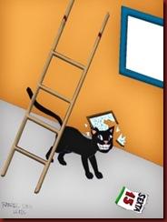 Casa 5 Azar Gato sob a escada