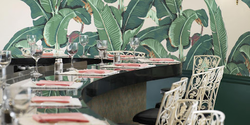 The Beverly Hills Hotel has had banana-leaf wallpaper for several decades.