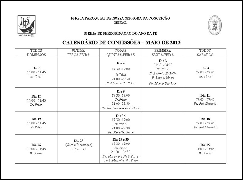 Calendário Confissões Maio 2013