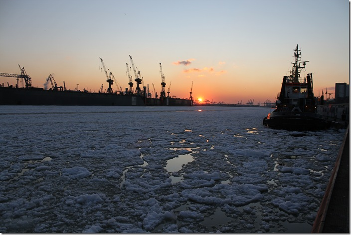 Frozen Hamburg Port