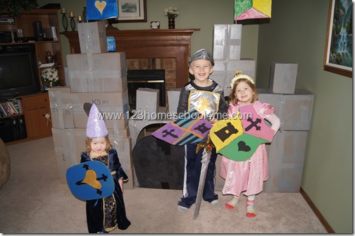 Huge DIY Caslte for pretend plan and homeschool medieval unit