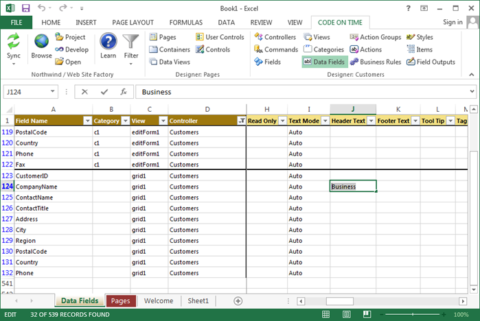 Changing the Header Text of a data field.