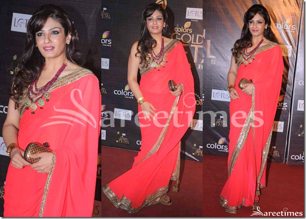 Raveena_Tandon_Pink_Georgette_Saree