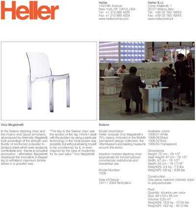 Selene chair technical data sheet