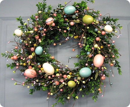 boxwood wreath with easter eggs