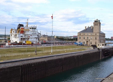 Watching a big ship go through the locks