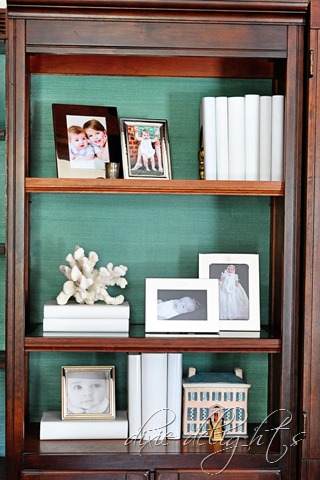 Grasscloth Wallpapered Bookshelves