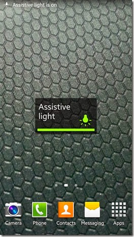 Assistive Light at homescreen