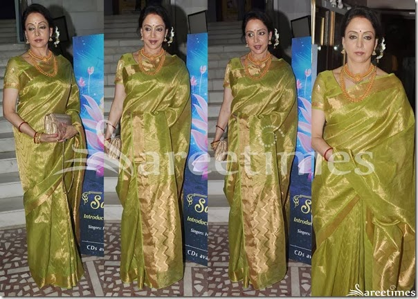 Hema_Malini_Green_Gold_Silk_Saree