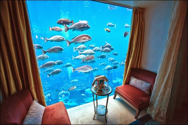 View of the Ambassador Lagoon aquarium in the Neptune Suite of the Hotel Atlantis, Dubai, UAE.