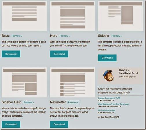 Aspecto de las 5 plantillas diferentes que ofrece Zurb.com