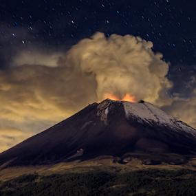Midnight Eruption by Cristobal Garciaferro Rubio - Landscapes Mountains & Hills ( mexico puebla eruption nightshot, popo, stars, popocatepetl, fire )