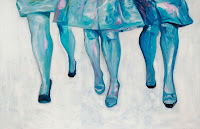 Three Lady Legs (Six Total); Oil on Canvas. 49x36. Sold.