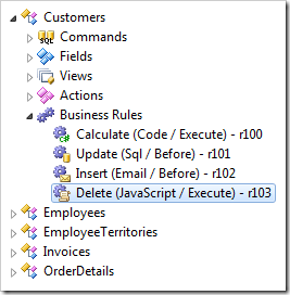 Synced business rule node in the Project Explorer.
