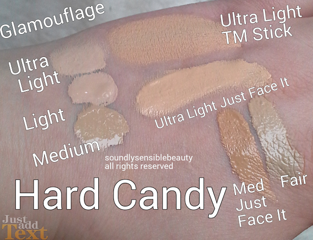 Hard Candy Just Face It Foundation Review & Swatches of Shades Ultra LIght, Fair, & Medium  Glamoflauge Concealer Swatches of Shades Ultra Light, Light, Medium Hard Candy Tinted Moisturizer CC Stick in Ultra Light