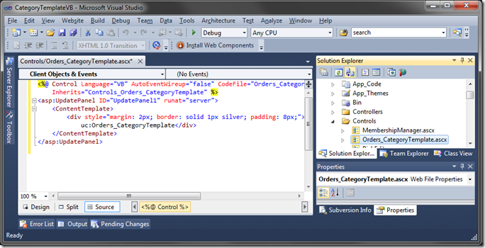 Default user control in Visual Studio