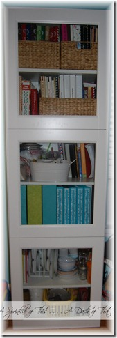 Cabinet after magazine holder makeover{A Sprinkle of This . . . . A Dash of That}