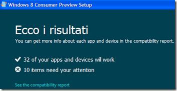 Risultati della verifica di compatibilità di Windows 8 con il PC