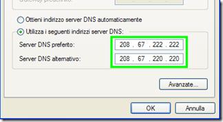 Utilizza i seguenti indirizzi server DNS