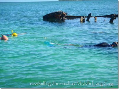 Sunken barge, Middle Long Island Cay