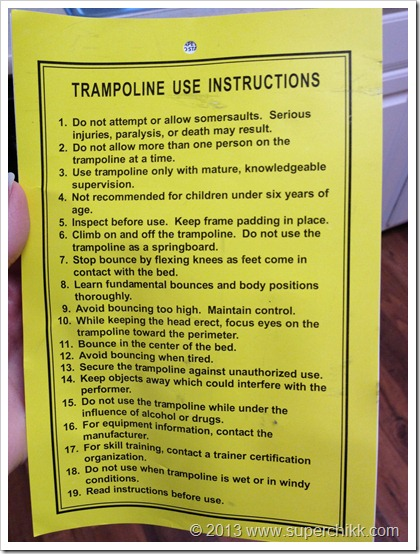 Trampoline Instructions