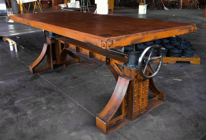 Bronx crank table vintage industrial furniture for Industrial crank table